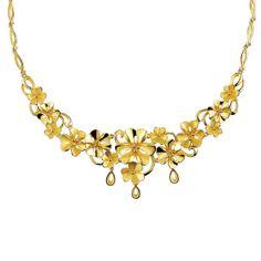 Gold Flower Necklace Lukfook Jewelry
