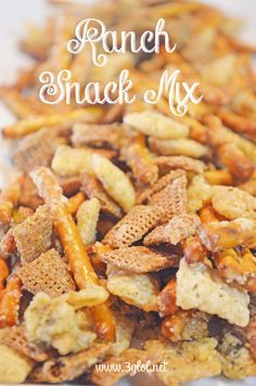 Ranch Snack Mix. Wheat Chex, Rice Chex and Pretzel Sticks with Ranch seasoning and butter. #snackmix #ranchsnackmix #chexmix www.3glol.net