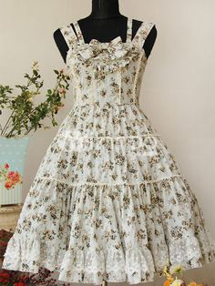 Classic Blue Sleeveless Bow Floral Cotton Lolita Dress - Milanoo.com