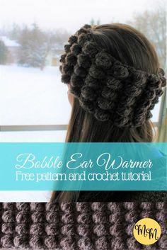 Free Crochet Tutorial for This Easy Bobble Ear Warmer!