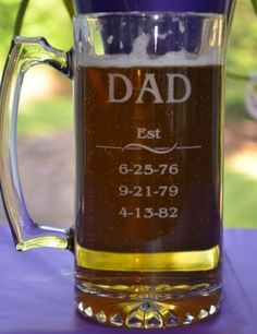 Etsy listing at https://www.etsy.com/listing/190420750/dads-mug-with-childrens-birthdates-27-oz~ Fathers Day