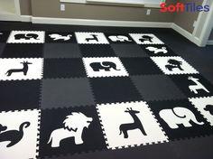 A beautiful Black and White playroom using SoftTiles Safari Animals Foam Mats #playrooms #kidsdecor #blackandwhite