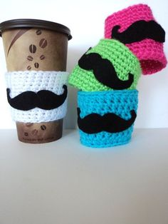 Items similar to Crochet Mustache Cup Cozy, Mug Cozy, Tea Cozy, Coffee Cozy, Mustache Party on Etsy Crochet Coffee Cozy, Coffee Cup Cozy, Crochet Cozy, Crochet Crafts, Yarn Crafts, Tea Cozy, Coffee Girl, Winter Coffee, Coffee Scrub