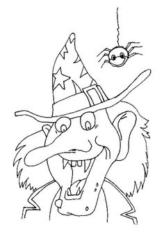 Scary Halloween Coloring Pages Halloween Coloring Pictures, Halloween Coloring Sheets, Witch Coloring Pages, Printable Adult Coloring Pages, Halloween Pictures, Coloring Books, Halloween Rocks, Scary Halloween, Fall Halloween