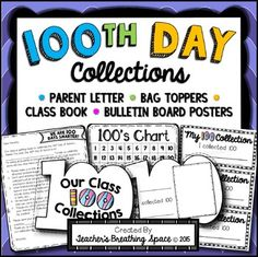 100th Day of School Collections - Parent Letter, Class Book, Bag Topper, Display: It's almost time for the 100th Day of School... yippee! There are SO MANY awesome 100th Day activities to do with your class, it's almost hard to pick which ones to do (after all, there are only so many hours in the day, right?).