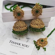 f311a70f6 @glimour_jewellery — Glimour Jewellery. Make a statement with these  gorgeous antique gold green Jhumki earrings ...