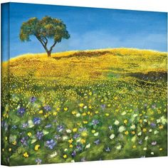 ArtWall Marina Petro Golden Meadow Gallery-wrapped Canvas, Size: 24 x 32, Blue