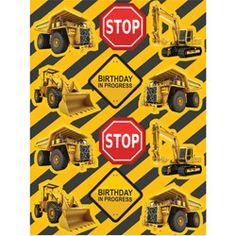 Construction Party Supplies, Construction Zone Stickers