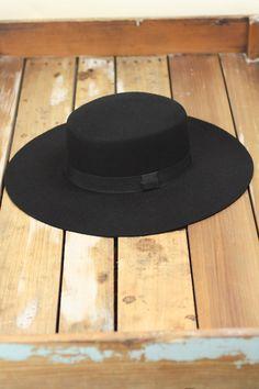 Flat Top Wool Boater Hat