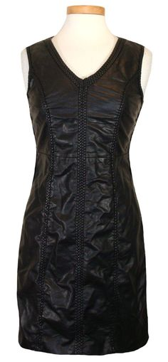 Max Studio Womens Dress Vegan Leather Braided Sheath Clubwear Black M NEW $128 #MaxStudio #Sheath #Casual