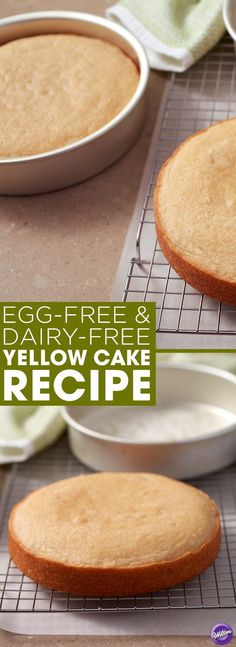 Egg-Free and Dairy-Free Yellow Cake Recipe - If you're allergic to eggs or dairy, or are just looking to cut them out of your diet, this Egg-Free and Dairy-Free Yellow Cake recipe is a great alternative. Great for sheet cakes or cupcakes, this simple recipe tastes great with icing or just on its own!