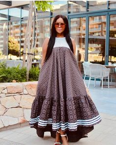 The best thing about Africa styles is that they are available for ladies of all ages. LATEST SESHOESHOE DRESSES to make you look elegant. Seshoeshoe Dresses, African Maxi Dresses, Latest African Fashion Dresses, African Attire, African Dresses For Women, Dress Fashion, Fashion Outfits, Wedding Dresses, South African Traditional Dresses