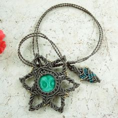Macrame Necklace Pendant Cabochon Malachite Stone Quartz Waxed Cord Handmade #Handmade #Pendant