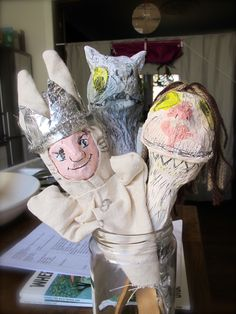 Where The Wild Things Are inspired paper mache puppets, by Follow the Silver Bird kids puppet workshops. Max and monsters!