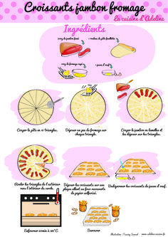Ham and cheese croissants (illustrated recipe) Healthy Toddler Breakfast, Ham And Cheese Croissant, Baby Food Recipes, Cooking Recipes, Cooks Illustrated Recipes, Recipe Drawing, Picky Eaters Kids, Yogurt Cake, Mini Desserts