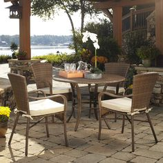 Panama Jack Key Biscayne 5 Piece Outdoor Dining Set with Cushions Fabric: Manchester