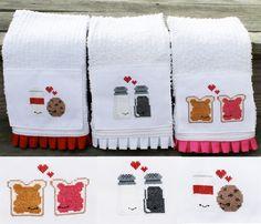 cute cross stitched dish towels - love the pb <3