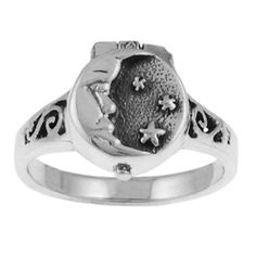 Tressa Sterling Silver Moon and Stars Poison Ring