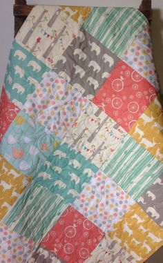 Baby Girl Quilt Elephant Deer Elk Mint Coral Yellow by CoolSpool, $145.00