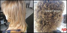 before and after--very nice medium length perm texture