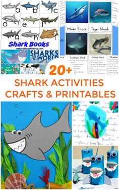 Awesome Shark Activities for Kids, Plus Shark Books, Shark crafts, Shark Party Ideas, and lots of Ocean themed Preschool and Kindergarten activities. Shark Week Printables and Crafts your kids will love