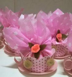 Ursinha marrom e rosa - embalagem para guloseimas