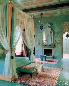 bohemian bedroom, venetian mirror, canopy, turquoise, aqua, teal and pink, peach