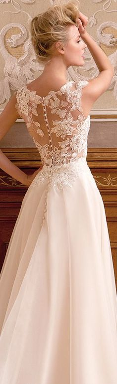 Gorgeous lace back. A-line wedding dress