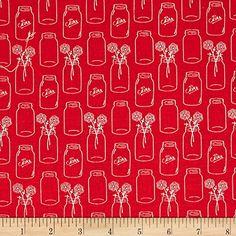Riley Blake Modern Minis Mason Jars Red Fabric