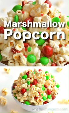This marshmallow Christmas popcorn is SO GOOD and it's really simple to make. Such a great Christmas treat idea for kids and grown ups! I've also seen it called Santa Crunch Popcorn. Who knew marshmallow popcorn was a thing!? Top it with sprinkles and M&M's and this sweet and salty popcorn is delicious! (And perfect for the holidays!) Easter Popcorn Recipe, Popcorn Recipes, Yummy Recipes, Snack Recipes, Cooking Recipes, Snacks, Xmas Food, Christmas Cooking, Christmas Popcorn