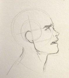 Pencil Art Drawings, Art Drawings Sketches, Cool Drawings, Drawing Heads, Drawing Faces, Face Profile Drawing, How To Draw Profile, Male Face Drawing, Face Sketch