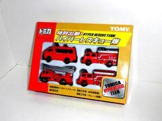 Tomy TOMICA Diecast Car Tokyo Fire Dep. Resuce Team (4 diecasts included) NEW #TakaraTomy #HondaToyotaSubaruNissan
