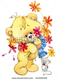 Teddy bear with flower and little mouse. background for greeting Bear Illustration, Portfolio, Winnie The Pooh, Teddy Bears, Clip Art, Draw, Disney Characters, Cute, Flowers