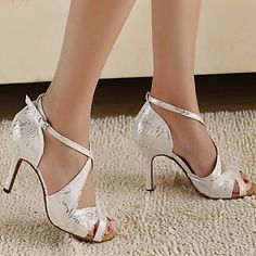 Customizable Women's Dance Shoes Latin/Ballroom Leatherette Customized Heel Silver – USD $ 24.89