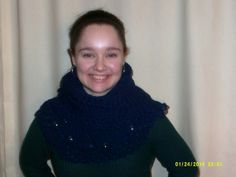 Women's handmade crocheted and beaded blue cowl by cleancritters, $25.00