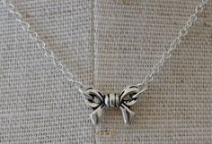 Silver Bow Necklace by verabel on Etsy