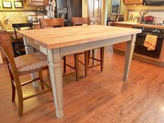 Kitchen Work Table with Butcher Block Top