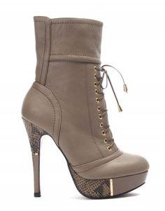 Chaussures femme Like You: Botte à talon taupe