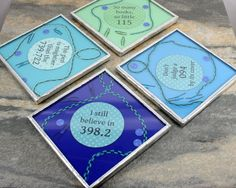 Book Coasters, Librarian Accessory, Book Lover Gift for Readers, Writer Gift, Writing Decor, Reader Gift Idea, Librarian Gift, Reading Decor