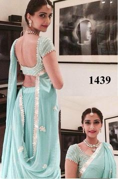 Veeshack Sonam Kapoor In Sky Blue Bollywood Sarees Online