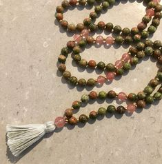 Unakite mala necklace - balancing heart and mind by thetiltedmoon on Etsy Heart And Mind, Silk Thread, Crystal Healing, Necklace Lengths, Tassel Necklace, Gemstones, Beads, Unique Jewelry, Handmade Gifts