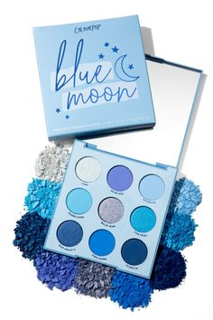 Blue Moon Eyeshadow Palette With 5 matte shadows and 4 metallics in every shade . - Blue Moon Eyeshadow Palette With 5 matte shadows and 4 metallics in every shade of blue - Eye Makeup Blue, Makeup Eyeshadow Palette, Skin Makeup, Colourpop Palette, Korean Eyeshadow, Colourpop Eyeshadow Palette, Maybelline Eyeshadow, New Eyeshadow Palettes, Makeup Collection