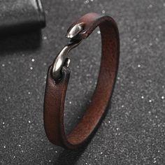 Men's Hook Buckle Genuine Leather Bracelet - Men's Hook Buckle Genuine Leather Bracelet – Small Details - Leather Cuffs, Leather Jewelry, Leather Men, Male Jewelry, Men's Leather Bracelets, Leather Jackets, Pink Leather, Jewelry For Men, Leather Sandals