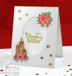 Handmade Christmas card by Chaitali Narla using Pinecone Christmas, Light My World and Weary World from Verve. #vervestamps