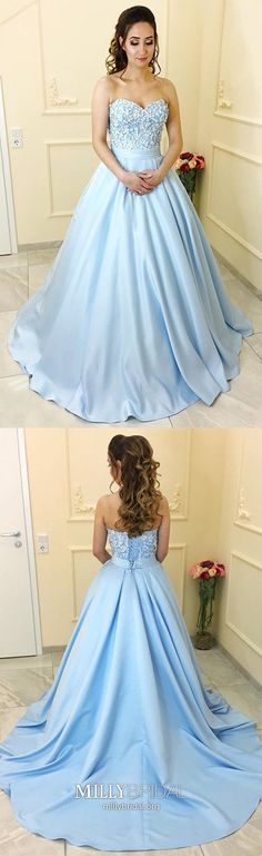 Blue Satin A-Line Princess Sweetheart Neck Strapless Lace up Long Sleeveless Prom Dresses UK This dress could be custom made, there are no extra cost to do custom size and color. Cheap Prom Dresses Uk, Prom Dresses For Teens, Prom Dresses 2017, Long Prom Gowns, Trendy Dresses, Party Dresses, Prom Long, Dress Prom, Dress Long