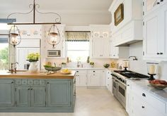 egg blue painted island, blue distressed kitchen island, butcher block ...
