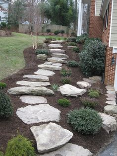 All the water runs back into the home. This will cause huge water issues. The grades need to slope away from the building.   Everything, including the path slopes back into the home.  The retaining walls can't take this much water.  They will fall over. This stone path will be difficult to travel. Look close.  Use plant material in mass. Landscaping, retaining walls
