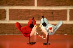 birds with headphones on