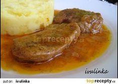 Slices of pork on butter - Plátky panenky na másle recept - TopRecepty. Czech Recipes, Ethnic Recipes, No Salt Recipes, Bon Appetit, Family Meals, Baked Potato, Mashed Potatoes, Steak, Food And Drink
