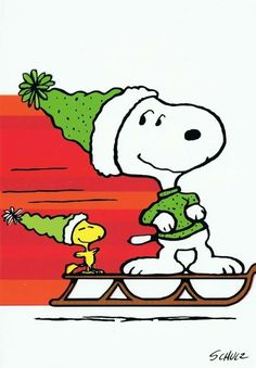Snoopy Wearing Green Sweater and Winter Cap and Woodstock Wearing Green Winter Cap Both Sliding Along the Snow on a Sled Peanuts Christmas, Charlie Brown Christmas, Charlie Brown And Snoopy, Christmas Time, Christmas Sweaters, Peanuts Cartoon, Peanuts Snoopy, Peanuts Comics, Peanut Pictures